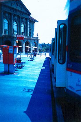 bad in blau, projekt im öffentlichen raum casino-platz / worb-bahn, 1999