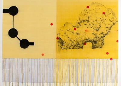 from DAO-serie; 2014 – 2015, (tschury in the sky) blauholz, goldrute, gummiarabicum, kohle, acryl, 120 x 150 cm